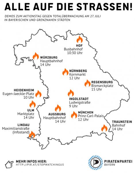 Uebersicht Demos in Bayern 27.07.2013